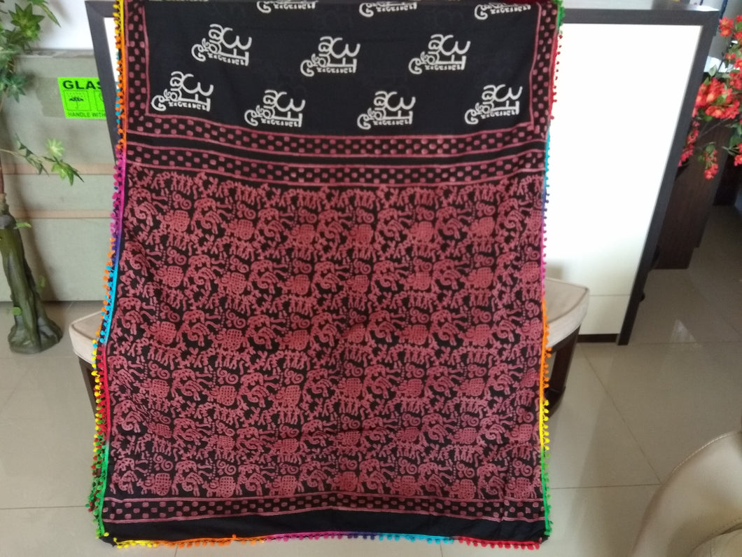 Mul Mul Cotton Saree With Pom Pom