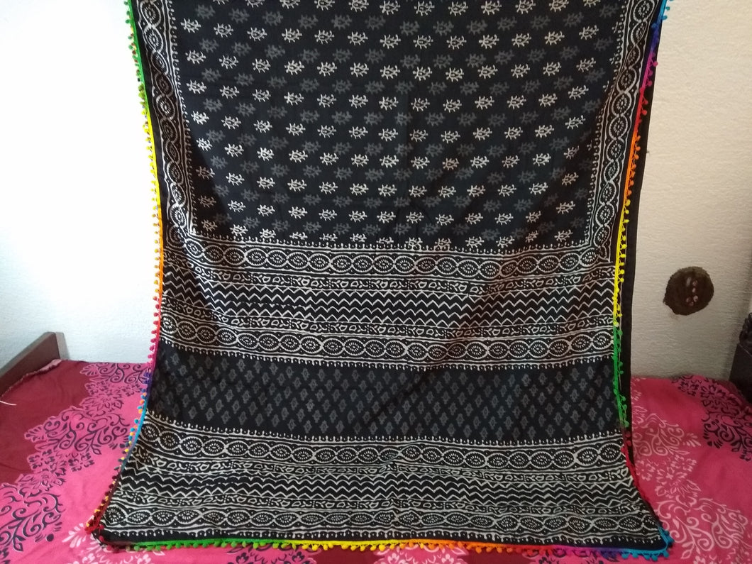 Mul Mul Cotton Saree On pom pom With Blouse Piece