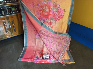 Beautiful Bengal Saree - Cotton Linen Digital Print Saree With Blouse Piece
