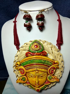 Terracotta Stylish Maroon Colour Thread Jewellery Necklace & Earrings Set for Girls and Women