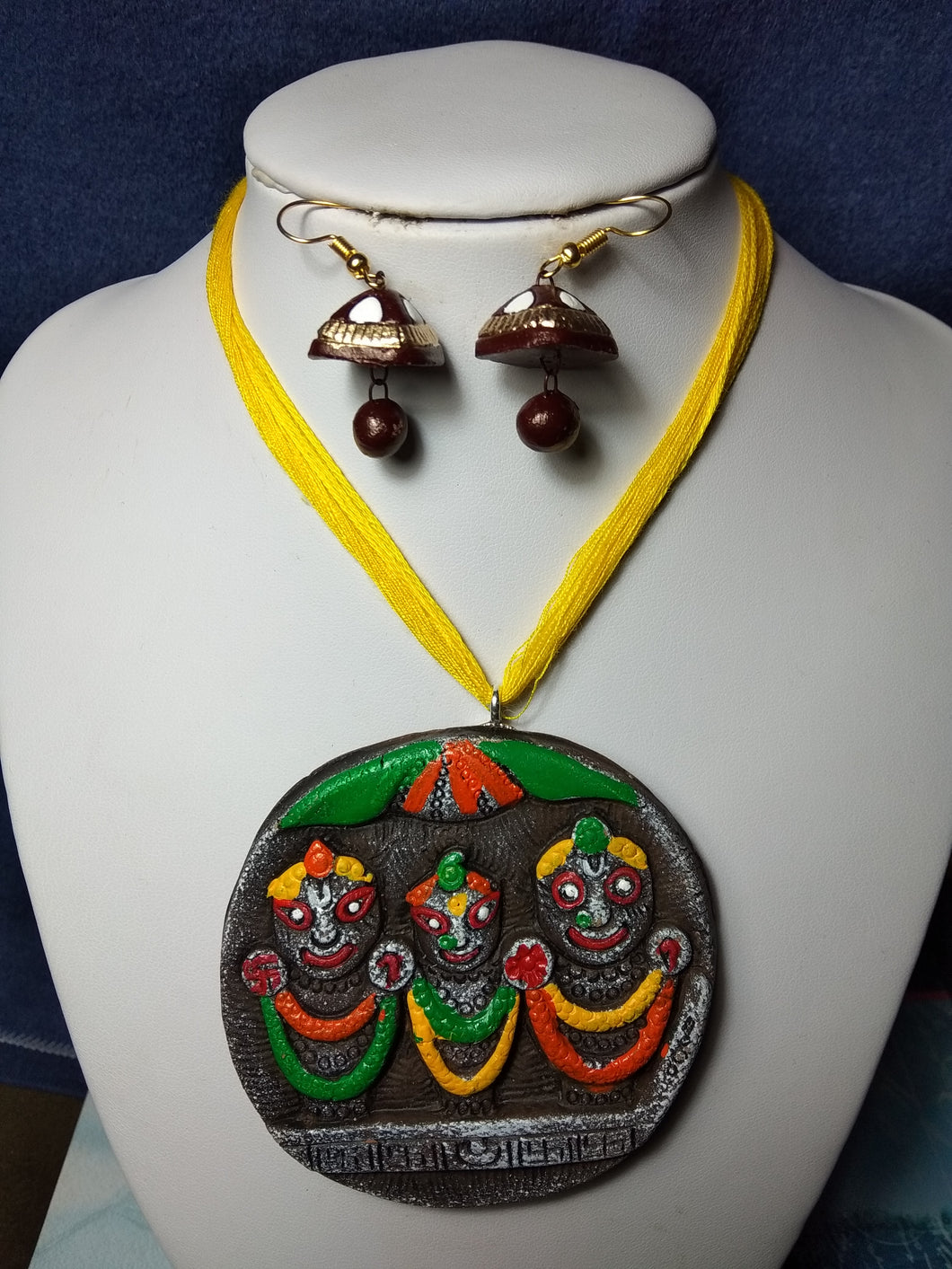 Terracotta Stylish Yellow Colour Thread Jewellery Necklace & Earrings Set for Girls and Women