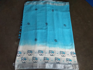 Linen thread work designer saree with blouse piece