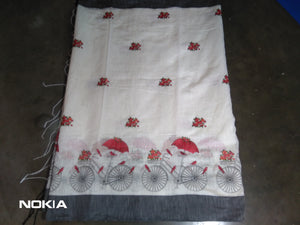 Handloom thread work designer saree with blouse piece