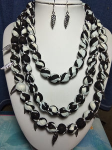 Stylish Black & White colour Thread Necklac with Earring for Girls and Women