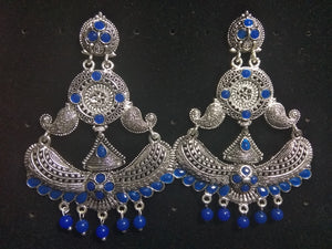 Stylish Blue Colour German Silver Tribal Fancy Party Wear Earrings for Girls and Women