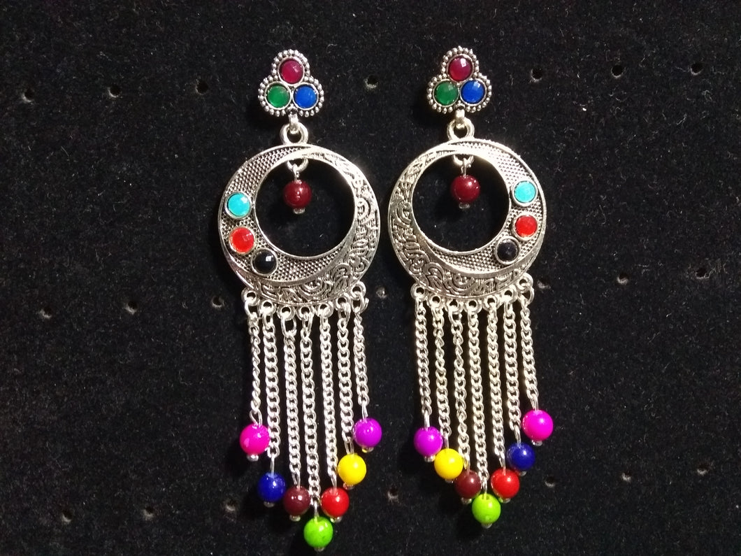 Stylish Multi Colour German Silver Tribal Fancy Party Wear Earrings for Girls and Women