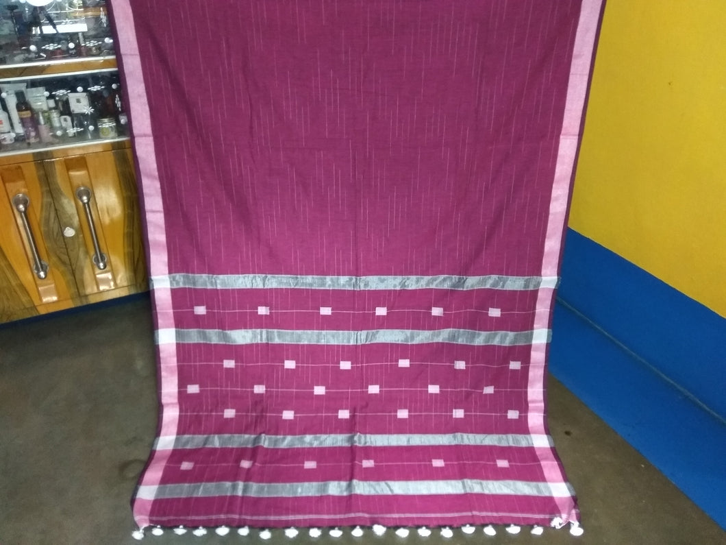 Handloom Khadi Cotton Saree With Blouse Piece