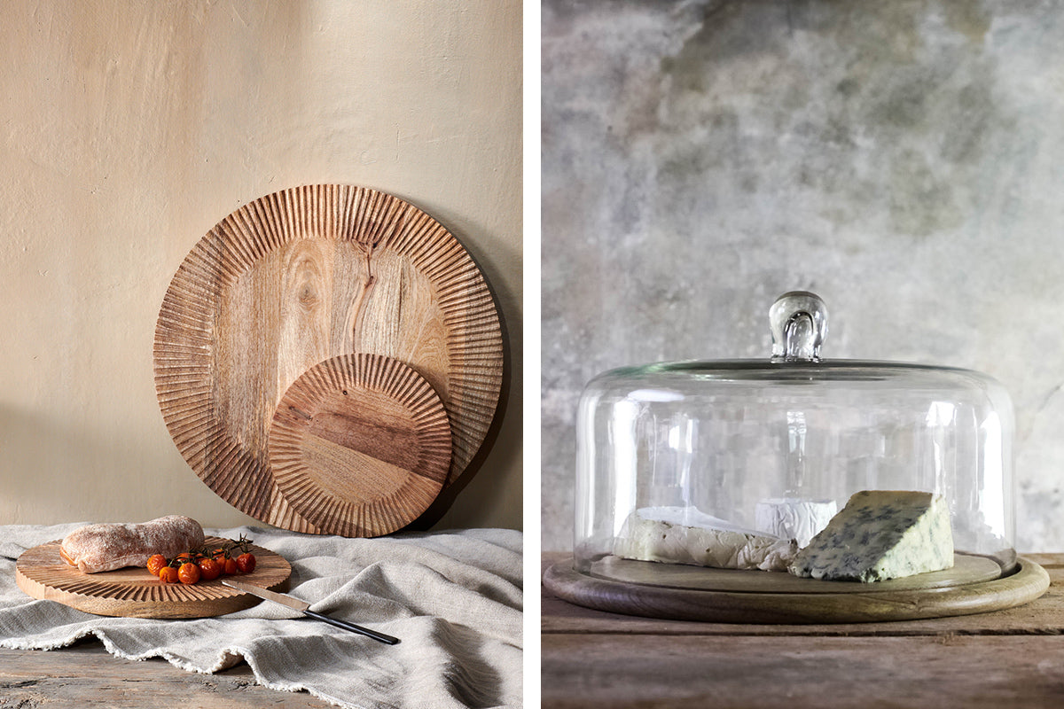 Soria Chopping Board and Recycled glass dome
