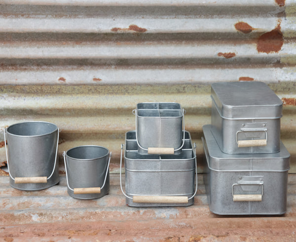 Aluminium metal storage pots and boxes