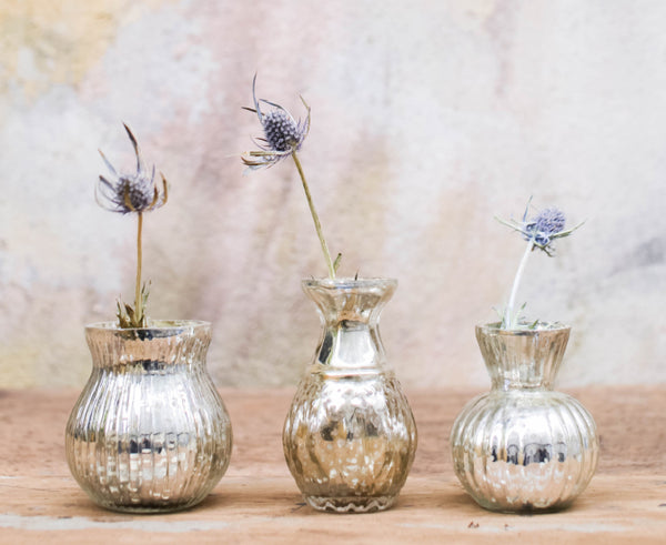 Small Silver Vases with Flowers