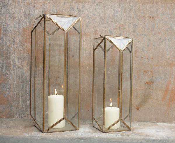 Large Brass Metal Geometric Lanterns