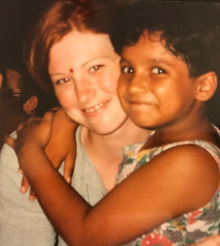 Katie with Delight on her first trip to India in 1997