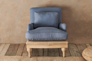 Nkuku FURNITURE Abe Linen Armchair - Storm Blue
