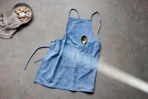 Nkuku KITCHEN LINEN Abeto Apron - Washed Blue