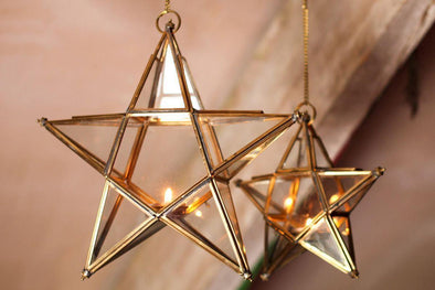 Nkuku DECORATIVE ACCESSORIES Antique Brass Glass Star