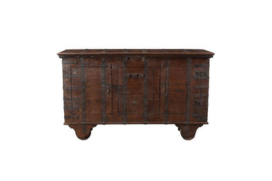 Nkuku INDIAN ANTIQUES FURNITURE Antique Wooden Chest on Wheels
