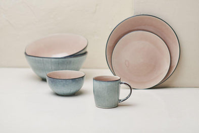 Nkuku TABLEWARE Bao Ceramic Dinnerware Set - Dusky Pink (Set of 12)
