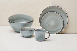 Nkuku TABLEWARE Bao Ceramic Dinnerware Set - Grey (Set of 12)