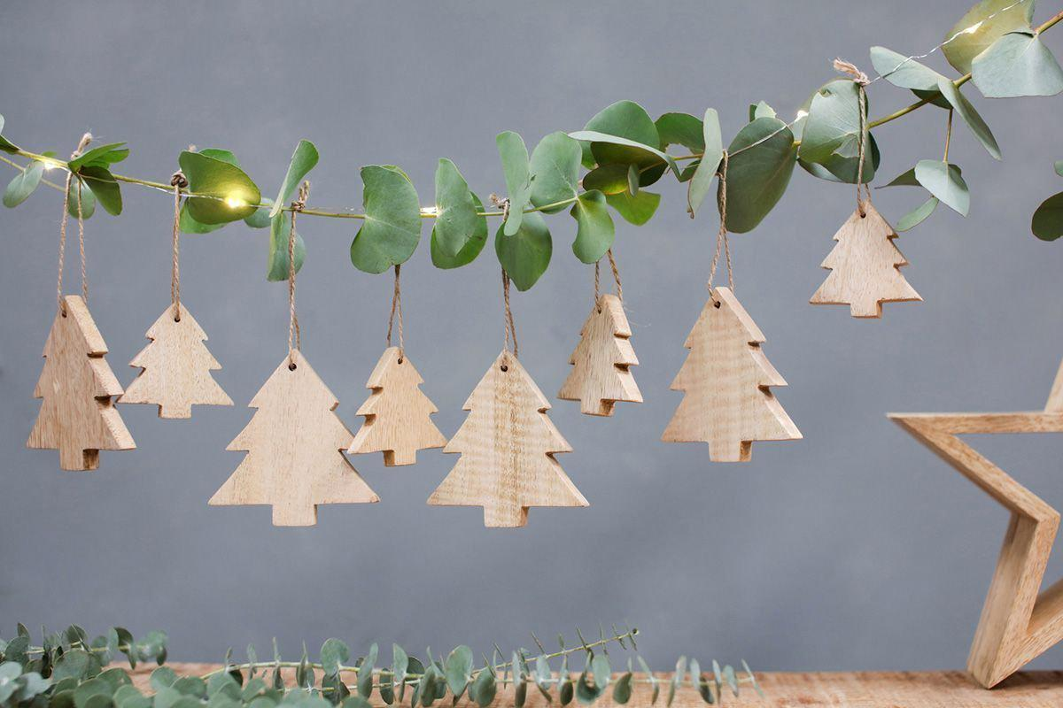 An image of Chana Mango Wood Decorations - Trees - Christmas Decorations - Natural / Set of ...