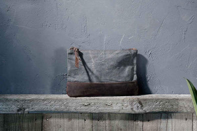 Nkuku BAGS Dara Canvas and Leather Pouch