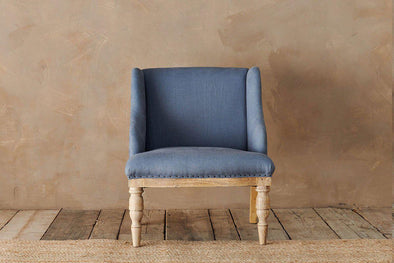 Nkuku FURNITURE Elbu Linen Armchair - Storm Blue