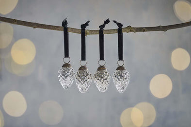 Nkuku CHRISTMAS DECORATIONS Harini Baubles - Antique Silver