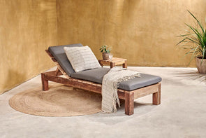 Nkuku FURNITURE Jaisalmer Reclaimed Teak Sun Lounger