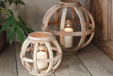 Nkuku LANTERNS & T-LIGHTS Kabu Wooden Lantern