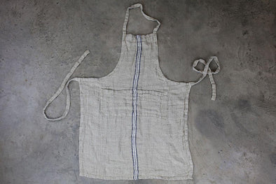 Nkuku KITCHEN LINEN Kalli Linen Apron - Natural & Blue