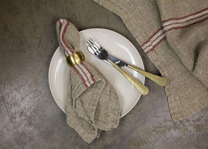 Nkuku KITCHEN LINEN Kalli Linen Napkin (Set Of 2) - Natural & Red