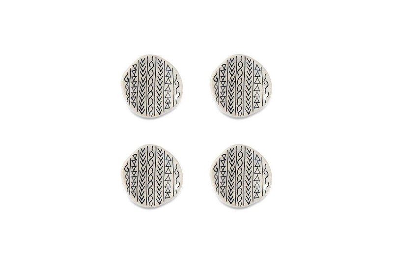 Nkuku HOOKS & KNOBS Kayba Ceramic Knob - Aztec (Set of 4)