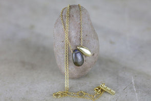 Nkuku JEWELLERY & ACCESSORIES Keebu Labradorite Necklace - Gold