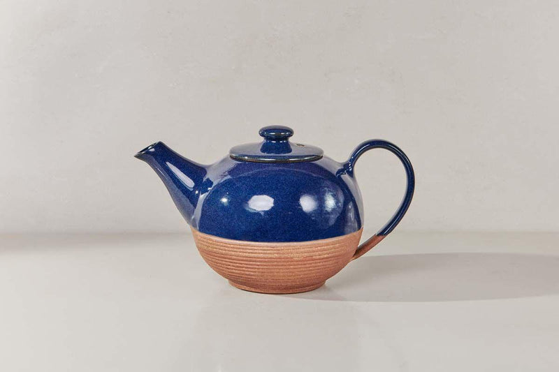 Nkuku TABLEWARE Mali Ribbed Teapot - Navy