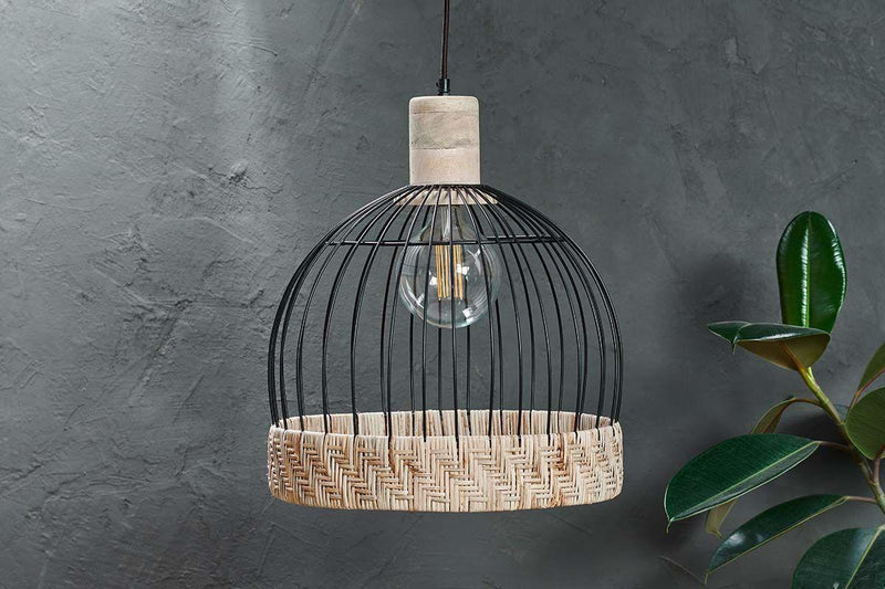 Nkuku LIGHTING Maru Wire & Rattan Pendant - Dome