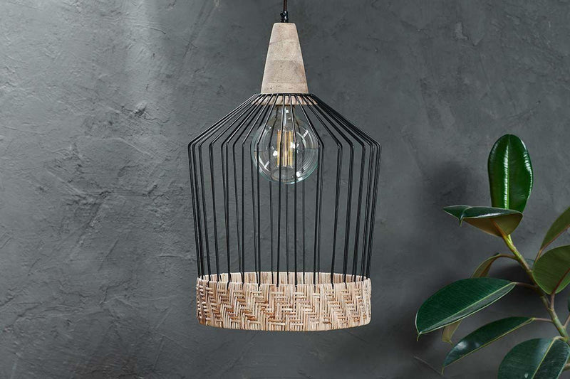 Nkuku LIGHTING Maru Wire & Rattan Pendant - Straight