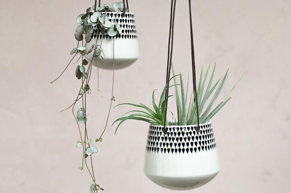 Nkuku VASES & PLANTERS Matamba Ceramic Hanging Planter - Droplets