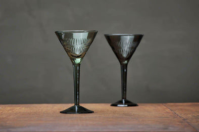 Nkuku GLASSWARE Mila Cocktail Glass - Dark Emerald