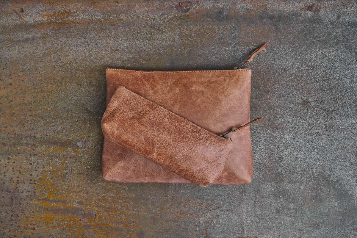 An image of Namba Leather Travel Pouch - Bags - Chestnut / Large 21 x 27 x 5cm
