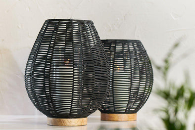Nkuku LANTERNS & T-LIGHTS Noko Wicker Lantern - Black