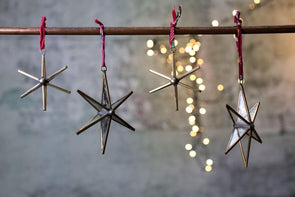Nkuku CHRISTMAS DECORATIONS Pakora Antique Brass Star (Set Of 2)