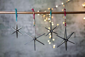 Nkuku CHRISTMAS DECORATIONS Pakora Antique Zinc Star (Set Of 2)