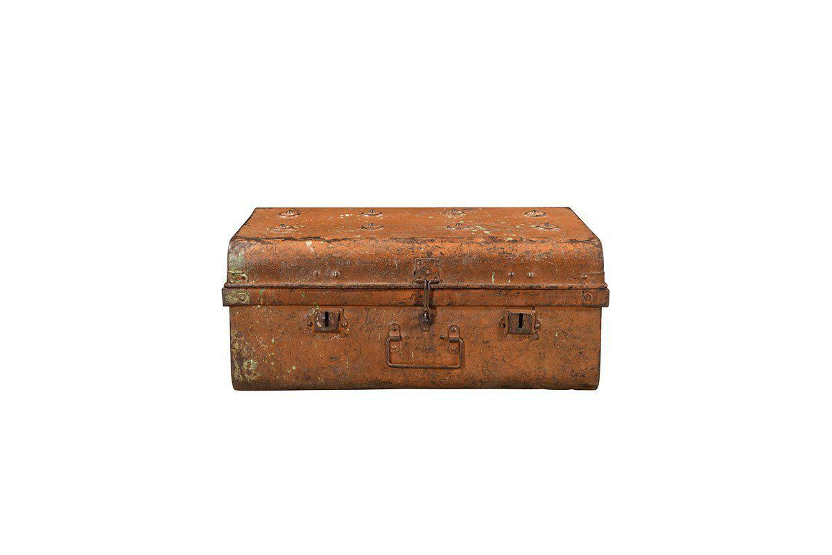 An image of Reclaimed Iron Chest - Indian Antiques Storage - Rust / 27 x 65 x 46cm