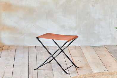 Nkuku FURNITURE Sagari Leather Stool