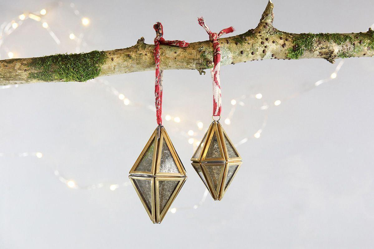 Nkuku CHRISTMAS DECORATIONS Sakata Decoration (Set of 2) - Brass