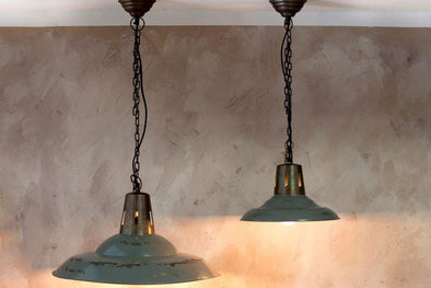 Nkuku LIGHTING Shimla Pendant - Distressed Grey (E27 Fitting)