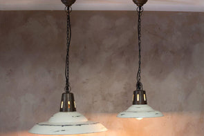 Nkuku LIGHTING Shimla Pendant - Distressed White (E27 Fitting)