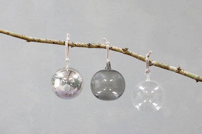 Nkuku CHRISTMAS DECORATIONS Tikari Glass Baubles - Balls (Set Of 3)