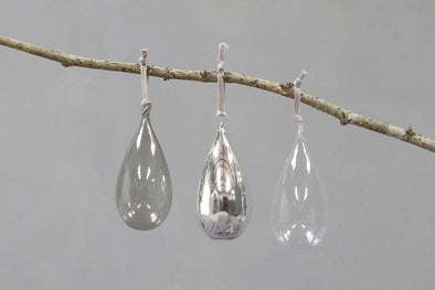 Nkuku CHRISTMAS DECORATIONS Tikari Glass Baubles - Drops (Set Of 3)