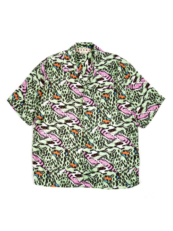 Marni - Mix Fabric Print Snake Print Shirt By Bruno Bozzetto