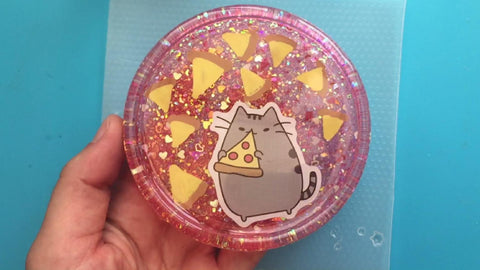completed pusheen resin coaster